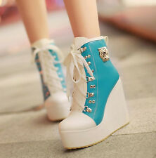 Stylish Womens Lace Up High Heels Platform Ankle Boots Sneakers Wedge Shoes SIZE