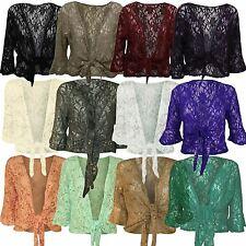 New Womens Floral Lace Sequin Bolero Shrug ¾ Sleeve Plus Size Tie Up Cardigan