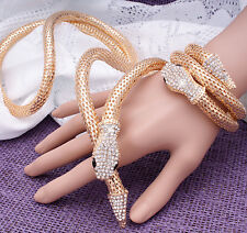 Fashion & Special Gold Snake Sparkly Crystal Bracelet Long Necklace For Women
