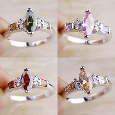 Free Ship Pink Topaz & Ruby Spinel Peridot Morganite Silver Ring Size 7 8 9 10