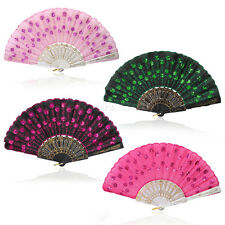 Spanish Embroidered Folding Sequins Hand Flower Lace Fan Party Wedding Décor