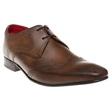 New Mens Base Brown Sew Leather Shoes Brogue Lace Up