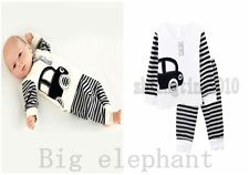 2PCS cotton car baby boy girl sets outfits top t-shirt+pants clothes for 0-4Y R9