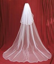 New 2T white or Ivory Wedding Bridal veil Cathedral Length with comb A+++++