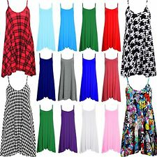 Womens Plain Cami Ladies Summer Swing Mini Dress Long Top Plus Size vest 8-26