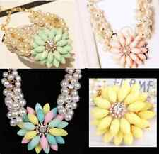 New Design Daisy Flower Layer Pearl Crystal Bib Crew Statement Necklace P44