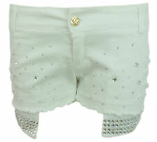 Ladies Sequins Jewls Embellished White Ropped Summer Denim Shorts Hotpants 6-14