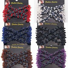 Women Easy Clear 4 Morning Glory Double Hair EZ Combs Clip Stretchy Hairpins