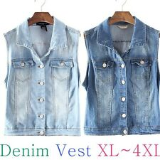 High Quality American Style Basic Denim Vest Blouse Plus Size XL-XXXXL/Tops/Card