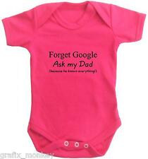 """""""Forget Google, Ask my Dad.......""""   Short sleeve baby vest play suit"""