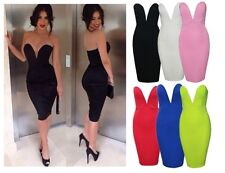 SEXY STRAPLESS DEEP V PLUNGE BODYCON STRETCH PENCIL KNEE LENGTH BANDAGE DRESS A