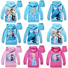 2-7Y New Lovely Girl Kids Frozen Queen Elsa Anna Hooded Long Sleeve Top T-shirt