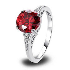 Free Ship Great Gift Garnet White Topaz Nice Silver Ring Size 6 7 8 9 10 11 12