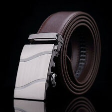 New Mens Black Brown Leather Business Casual Belt With Auto Lock Sliding Buckle