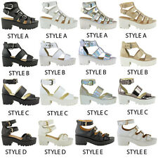 Boots Ladies Chunky Cleated Sole Gladiator Sandals High Platform Shoes