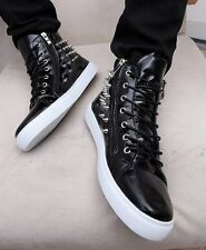 Mens casual stuck punk rivet high top zip Athletic PU leather shoes