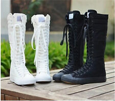 Gothic EMO PUNK Women Girl Shoes Canvas Flat Tall Boots Zip  Knee High Sneaker