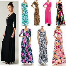 LONG or SHORT SLEEVE MAXI WRAP DRESS 70's SOLID PRINTED BOHO HIPPIE L.A.Made $89