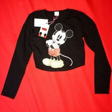 MISO MICKEY MOUSE DISNEY BLACK CROP TOP SIZE 8 - 10  LONG SLEEVE TSHIRT FAST P&P