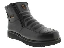 mens black leather work shoes tough durable boots casual dress heavy duty new