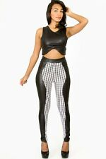 Fashion tights Legging Casual Black and white leatherette Long pants giti online