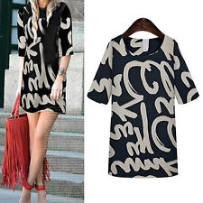 Fashion Women Summer Loose Mid Sleeves Letter Tattoo Tops Blouse Dress