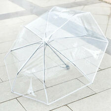 New Ladies Fashion Umbrellas 3 Folding Transparent Rain Umbrella Parasol KT0009