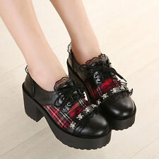 Womens lace up Plaid Metal decor skull lace block chunky Collegiate shoes boots