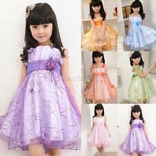 Baby Kids Girl Princess Dress Flower Ruffle Tulle Wedding Party Dress Skirt 2-7Y