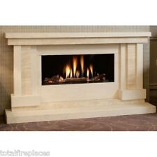 Arcadia Limestone & Travertine Fireplace & Glass Fronted HE Gas Fire