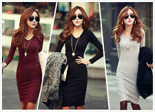 Career Women's New Fashion Autumn and Winter Fitted V-Neck Knit Pencil Dress