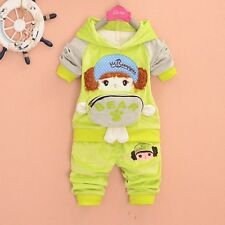 2Pc Baby Girl Hoodie Jogging Suit Sportswear Velvet Outfit Tracksuit Spring Fall