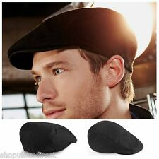 Black Vintage Flat Cap Hat Cotton Lightweight Smart Golf Herringbone Unisex