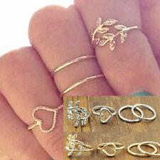 New Gold&Silver Sweet Love Heart Leaf Crystal Midi Knuckle Finger Rings Set Gift