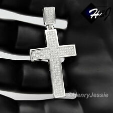 "MEN 925 STERLING SILVER ICED OUT CROSS PENDANT+18-30""X2MM BOX LINK CHAIN*SP1"