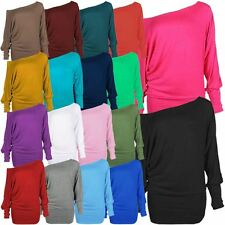 Womens Batwing Long Sleeve T-Shirts Off Shoulder Baggy Plain Tops 8-34