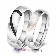 """Couple """"Real Love"""" Heart Stainless Steel Comfort Fit Wedding Bands Promise Ring"""