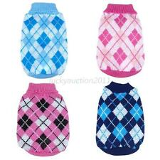 Winter Pet Dog Cat Warm Lattice Knitwear Sweater Small Puppy Coat Apparel XS-XXL