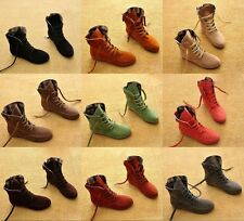 Womens Girls Ankle Short ankle Boots Lace Up high top Flat Wedge Shoes Sneakers