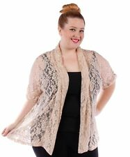 YUMMY Beige Lace Open Cardigan~Plus Size~NWOT~4X 5X 6X~Short Sleeve Jacket Shrug