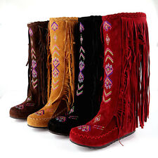 Tassels Fringe Womens Embroidery Mid Calf Knee High Boots Hidden Wedge Moccasin
