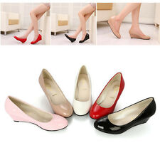 Candy Color Women Lady Work Shoes Patent Leather Round Head Wedge Footware Pumps