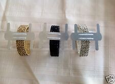 Gold Clear Or Black Rhinestone Stretch Band Corsage Wristlet Formal Prom Favors