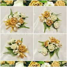 WEDDING FLOWERS/PROM PIN-ON LADIES CORSAGE SILK FOAM ROSES CARAMEL GOLD