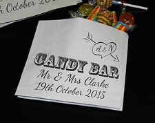 PERSONALISED ❤ Wedding Candy Bar Bags, Sweet Buffet ❤Choice of Print Colour