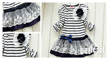 NEW COTTON BLUE STRIPES/NAUTICAL LONG SLEEVE LACE DRESS WITH FLOWER /GIRL/BABY/I