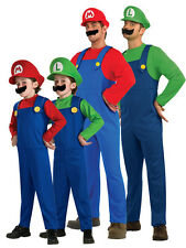 2014 Adult Kids Super Mario Luigi Bros Fancy Dress Plumber Game Costume Men Boys