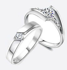 Cocktail Jewelry Men Women White Topaz Gemstones 925 Silver Wedding Ring Sz 5-14