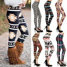 AZTEC LEGGINGS COZY SOFT BRUSHED MICROFIBER 14 PRINTS BOHO NAVAJO HIGH WAIST USA