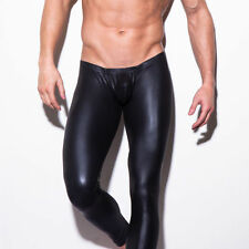 Mens Long John Shiny Faux Leather Club Dance Pants Skinny Muscle Tights Leggings